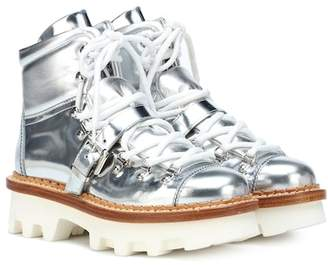 Moncler Metallic leather ankle boots