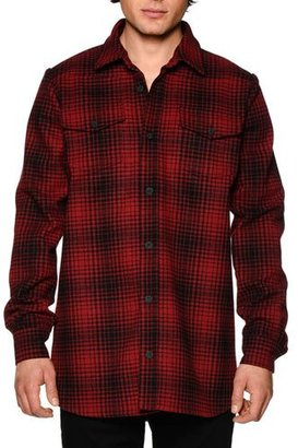 Off-White Tartan-Plaid Long-Sleeve Shirt W/Signature Stripes, Red/Black $580 thestylecure.com
