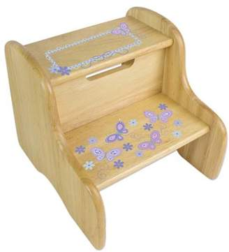 My Bambino Personalized Butterflies lavender Wooden Two Step Stool