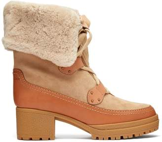 See by Chloe Eileen lace-up shearling and suede boots