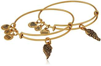 Alex and Ani Path of Symbols Wings Set of 2 Gold Expandable Wire Bangle Charm Bracelet