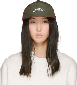 Off-White Green and Brown Camo Snap Cap