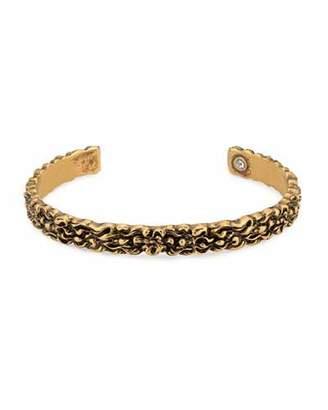 Gucci Men's 8mm Lion Head Aged Metal Cuff Bracelet