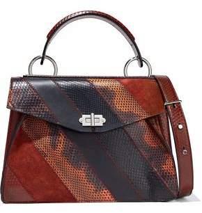 Proenza Schouler Medium Hava Paneled Ayers Karung Suede And Leather Shoulder Bag