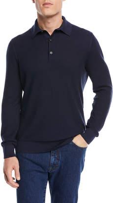 Ermenegildo Zegna Jacquard Long-Sleeve Polo Shirt