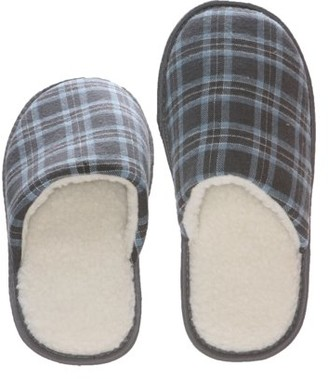 Deluxe Comfort Tartan Plaid Mens Memory Foam Slip-On House Slipper, Size 7-8 - Warm Cozy Wool Fleece Lining - Slip Resistant Durable Rubber Sole - Classic Checkered Plaid - Mens Slippers, Blue