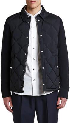 Moncler Men's Knitted-Back Zip-Front Cardigan