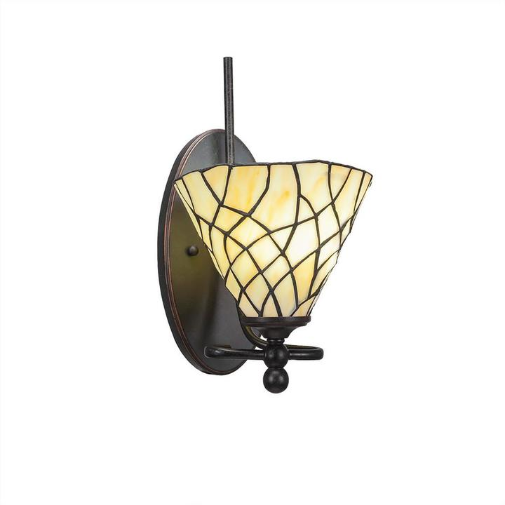Cambridge Silversmiths Cambridge 1-Light Dark Granite Sconce with Sandhill Tiffany-Style Glass