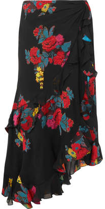 Etro Ruffled Fil Coupé Silk-blend Skirt - Black