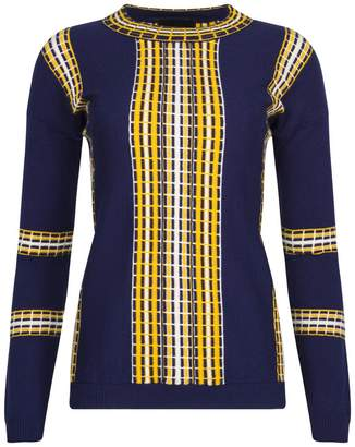 NY CHARISMA - Navy Sweater With Textured Railroad Pattern