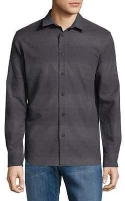 Selected Tonal Striped Cotton Button-Down Shirt