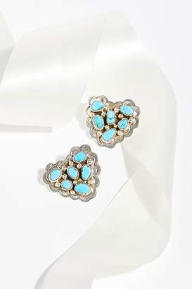 Navajo Arts & Crafts Enterprise Turquoise Cluster Heart Stud Earrings