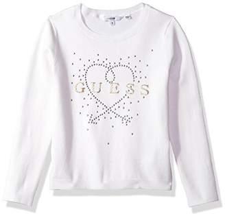 GUESS Girls' Long Sleeve Heart Sweater