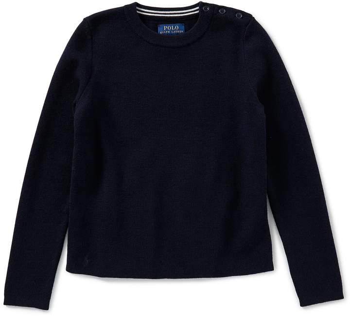 Ralph Lauren Childrenswear Little Girls 2T-6X Contrast-Peplum Wool Sweater