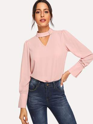 Shein V Cut Choker Neck Blouse