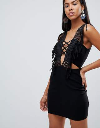 Rare London lace up fringe plunge mini dress