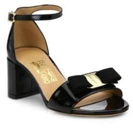 Salvatore Ferragamo Gavina Patent Leather Block Heel Sandals
