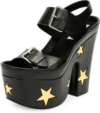 Stella McCartney Buckle Star Platform Sandal, Black