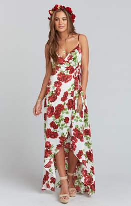 Show Me Your Mumu Mariah Wrap Dress ~ Budding Rosemance Ivory