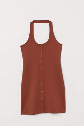 H&M Fitted Halterneck Dress - Orange