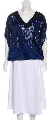 Halston Sequined Silk Top
