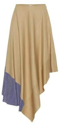 Loewe Asymmetric linen and cotton skirt