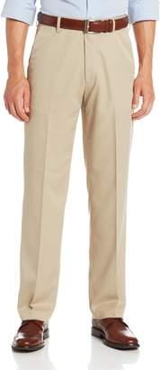 Haggar Men's Micro Herringbone Straight Fit Plain Front Expandable Waistband Dress Pant