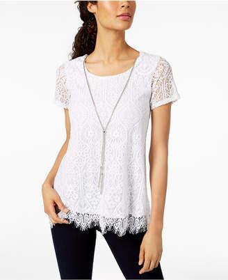 ba05b696042bd ... JM Collection Petite Lace Swing Necklace Top