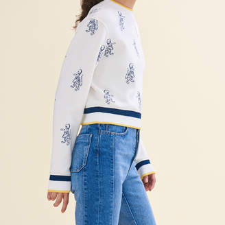 Maje Short sweatshirt with tiger embroidery
