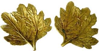 One Kings Lane Vintage Brass Leaf Plates - Set of 2 - Cliffe's Edge Antiques