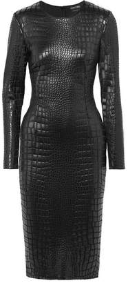Tom Ford Croc-effect Lacquered-jersey Dress - Black
