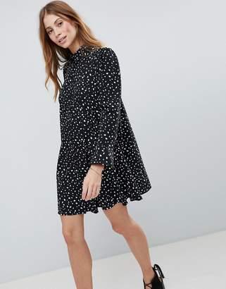 Asos DESIGN Long Sleeve Shirt Mini Dress In Scatter Spot