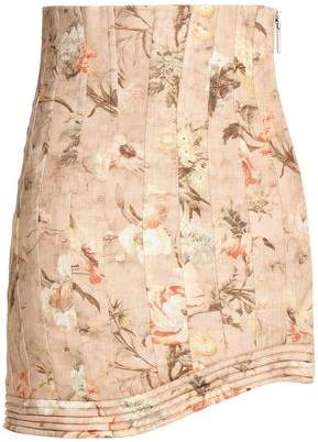 Zimmermann Asymmetric Pleated Linen Mini Skirt