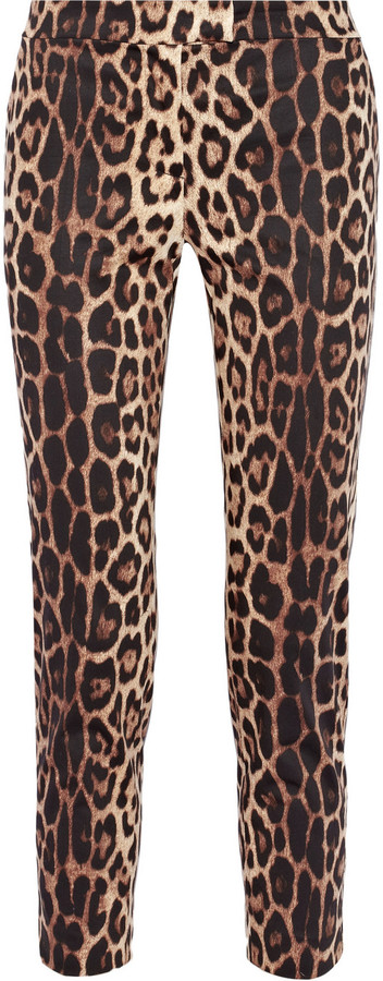 Moschino Cheap and Chic Cropped leopard-print stretch-cotton pants