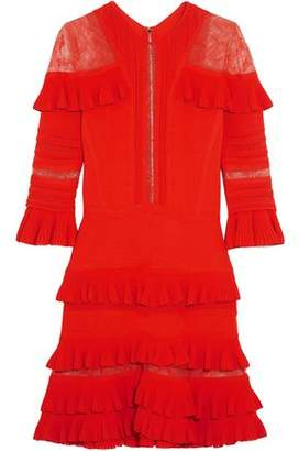 Elie Saab Chantilly Lace-Paneled Ruffled Stretch-Knit Mini Dress