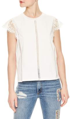 Sandro Lace Sleeve Top