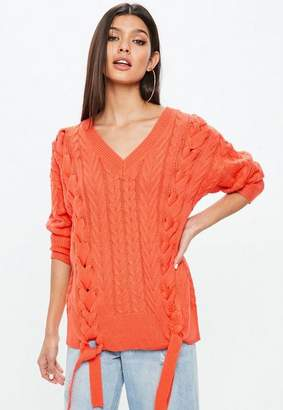 Missguided Oversized Lace Up Cable Knit Jumper