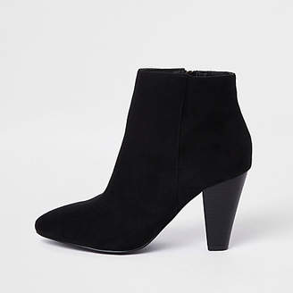 River Island Black faux suede pointed cone heel boots