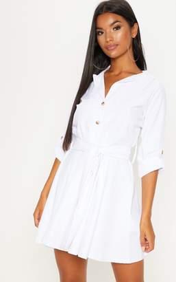 PrettyLittleThing White Tortoise Shell Button Front Shirt Dress