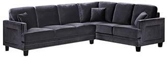 Meridian Furniture 655GRY-Sectional Ferrara Collection Sectional