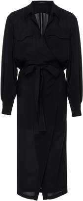 Derek Lam Asymmetrical Silk Placket Shirt Dress With Belt Size: 40
