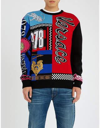 Versace Patchwork intarsia-knit wool jumper