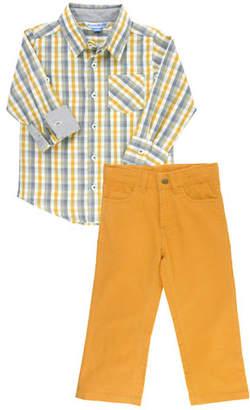 RuffleButts Boy's Parker Plaid Shirt w/ Corduroy Pants, Size 3-24 Months