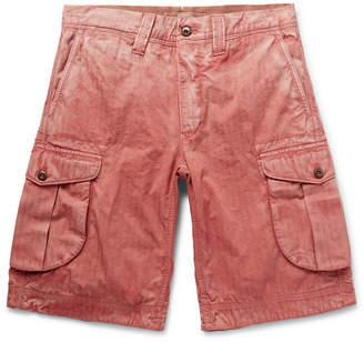 Incotex Herringbone Washed-Cotton Cargo Shorts