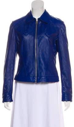 Versace Geometric Perforated Leather Jacket