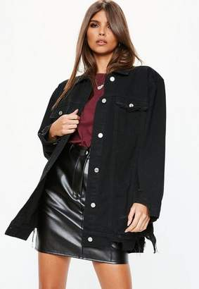 Missguided Black Oversized Longline Distressed Denim Jacket