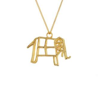 Origami Jewellery Frame Elephant Necklace Gold