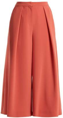 Roksanda Deven Wide Leg Cropped Cady Trousers - Womens - Pink