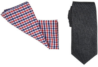 Geoffrey Beene 7cm Tie & Pocket Square Set (Plain/Check)