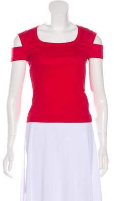 Helmut Lang Cold-Shoulder Short Sleeve Top